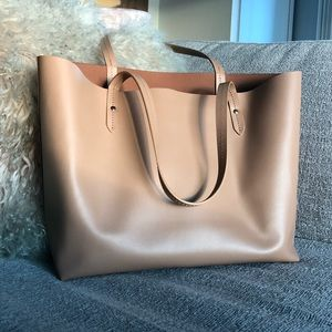 Barneys leather tan tote bag